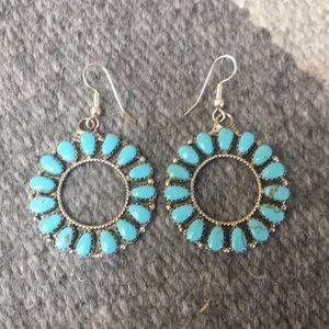 Jewelry - Light blue turquoise hoop earrings
